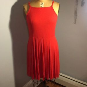Red High Neck Rib Dress